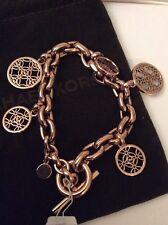Michael Kors Rose Gold-Tone Heritage Monogram Charm Bracelet $185 MK485