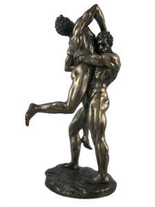 Hercules and Anteus Bronze Finish Statue Greek Myth