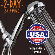 "Handheld Shower Head - High Pressure Chrome Face with Hose (6-Setting 3.5"") NEW!"