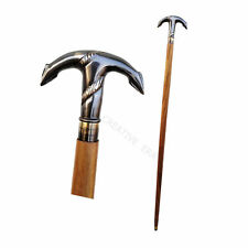 Antique Brass Anchor Head Handle Style Solid Victorian Wooden Walking Stick Cane