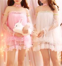 Dress Girl show shoulder skirt Loli Japan Kawaii Chiffon princess clothing Gift