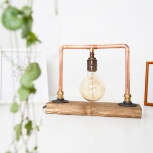 Bedside table lamp on reclaimed timber base Copper Pipe Light Bulb Included