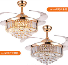 """Luxury Invisible 42"""" Rose Gold LED Crystal Ceiling Fan Light Lamp Chandelier"""