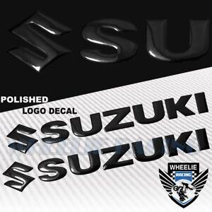 "2X 8""X 1.25"" 3D POLISHED ABS/SHINY EMBLEM DECAL LOGO+LETTER STICKER SUZUKI BLACK"