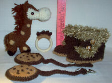 New hand crochet gift set, Giraffe,booties, teething ring,and chew cookies