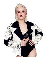 New Woman Punk Rock Motorcycle White Black Silver Spiked Studded Leather Jacket