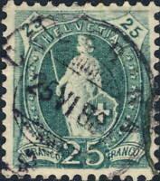 SUISSE / SWITZERLAND - Mi.59A 25c blue-green p.11-3/4-1x12 used CELERINA 1888