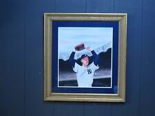 Whitey Ford autographed watercolor painting by artist James Fiorentino NY YANKS