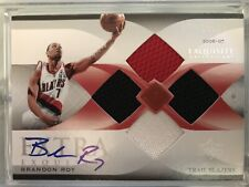 2006-07 Brandon Roy Extra Exquisite Rookie 3 Color Jersey Auto. Jersey #7/10.