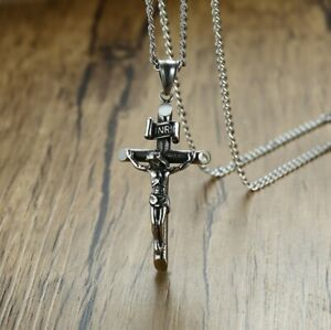 Men Titanium Stainless Steel 51 mm Silver crucifix Jesus on Cross Necklace 23.5""