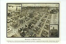 Houston Texas Old City Map Panoramic View, Oil Center, Railroad, Modern Postcard