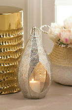 "large silver 15"" tall teardrop punched Moroccan Candle holder Lantern floor Lamp"