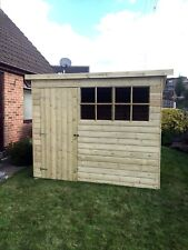 10x4 TANALISED T&G WOODEN GARDEN SHED FACTORY SECONDS GEORGIAN  PENT HUT FL