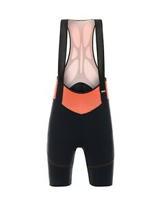 Women's Volo Cycling Bib Shorts in Black/Orange C3W pad Made in Italy by Santini