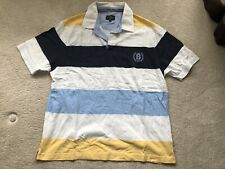 Mens Blue, White And Yellow M&S Polo Shirt - Size M