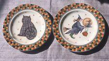 2 pc SAKURA Halloween set CAT WITCH WITCHES FLYING Salad Desert Plates