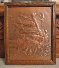 Vintage Sheet Copper Dog Hunting Embossed Picture Decor Wood Frame