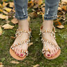 Womens Ladies Boho Sandals Rhinestone Flats Flip Flops Summer Beach Casual Shoes