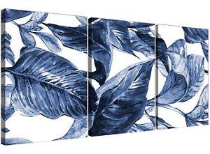 Indigo Navy Blue White Tropical Leaves Canvas Wall Art - Multi 3 Part - 3320