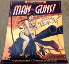 Ant Lucia SIGNED Star Wars Pop Art Print ~ Slave Leia in MAN THE GUNS!