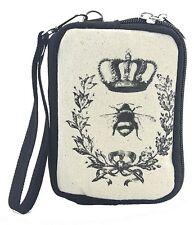 Vintage Print Queen Bee Wristlet Canvas Material Wallet for Handbag Purse