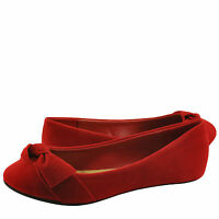Women's Shoes Bamboo Chantel 46S Bow in Front Casual Feminine Flats Red *New*