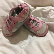 ROBEEZ BABY GIRLS SHOES SZ 18-24 MOS GRAY WHITE PINK LEATHER