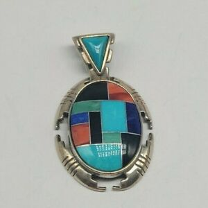 """1.57"""" Sterling Silver Southwest Carolyn Pollack Pendant Mutli-Color Inlay"""