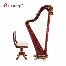 Dollhouse 1:12 scale Miniature painting hand Harp and stool