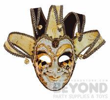 Venetian Mardi Gras Theater Jester Joker Masquerade  Mask for Men - Black Gold