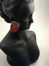 Pretty vintage Laurel Burch Maori red mask pierce earrings