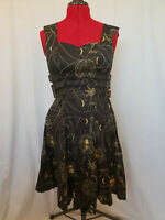 Spin Doctor Steampunk Gothic Black Gold Leather Belted Occult Dress Size S