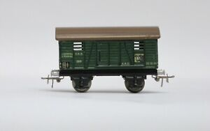 Marklin HO scale # 389 stamped steel stock car from 1939. Ex NB
