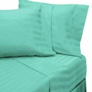 Aqua Striped Attached Waterbed Sheet Egyptian Cotton Queen/King/Cal.King