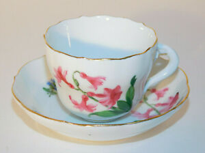 Meissen Pink/ Blue Floral Scalloped Demitasse Cup and Saucer