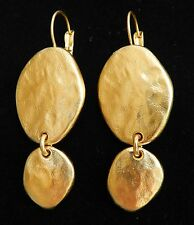 Artisan Designer Yellow Gold 24k Plated Two Hanging Ovals Drop Dangle Earrings