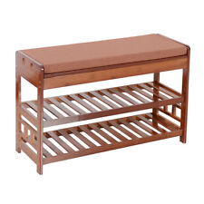 Natural Bamboo Shoe Rack Bench Entryway Organizer Cozy  Storage with Cushion