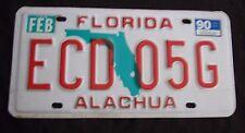 "1990 FLORIDA GREEN MAP ALACHUA COUNTY PASSENGER LICENSE PLATE "" ECD 05G "" FL 90"