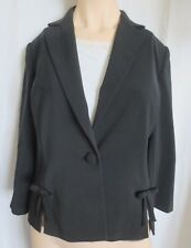 Black Blazer Votre Nom Ladies Fitted 1 button ribbon detail slits lined Size 10