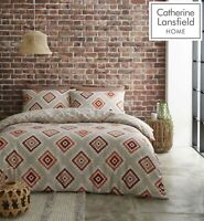 Catherine Lansfield Aztec Easy Care Quilt/Duvet Cover Bedding Set Spice