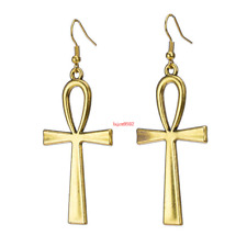 Statement Art Deco Jewellery-Ancient Egyptian gold - Ankh Earrings - Large