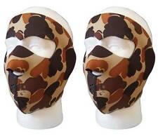 2 pcs Neoprene Brown camo style full facemask one size unisex wind resistant