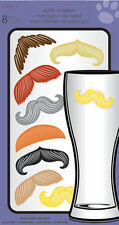 MUSTACHES drink markers 8 stickers beer wine glasses peel & stick moustache