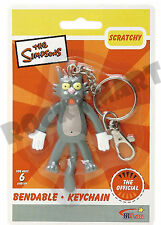 Simpsons SCRATCHY Cat ( KEY CHAIN ) Bendable Figure Toy Show Zipper Pull RM1787