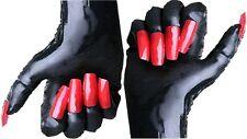 Gummi Latex Rubber Handschuhe mit Fingernageltips rot Größenauswahl
