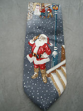 Andhurst Santa Claus Silk Neck Tie Cell Phone Snowman Snowing Gray Holiday