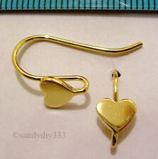 2x Real 18K GOLD plated STERLING SILVER HEART FRENCH HOOK EAR WIRE EARRINGS G007