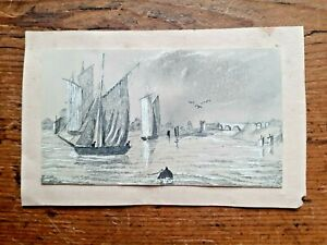 OLD VINTAGE MINIATURE PENCIL DRAWING BOATS SEA HARBOUR BRIDGE DOLL HOUSE PICTURE