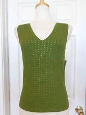 VALERIE STEVENS green beaded silk tank top size S