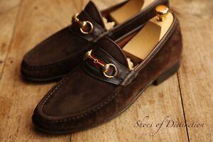 Gucci Brown Vintage Suede Web Bit Loafer Shoes Men's UK 8.5 US 9.5 EU 42.5 D